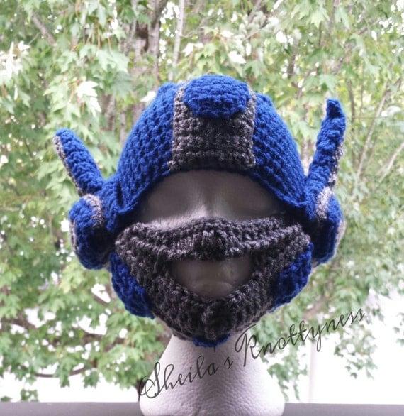 Crochet Pattern For Optimus Prime Hat : crochet Optimus Prime Transformers inspired hat