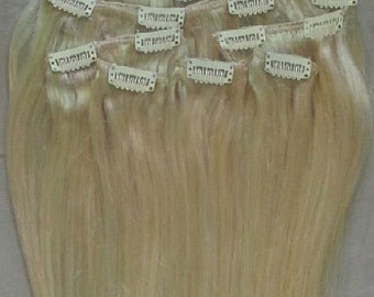22 inches 7pcs Clip In Human Hair Extensions 613 Platinum Blonde