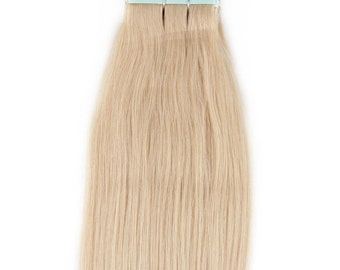 20 inches 100grs,40pcs, Human Tape In Hair Extensions #60 White Blonde (NOT the very pale)