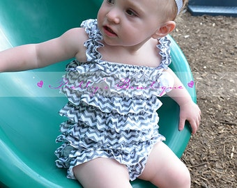 Chevron Petti Romper, baby girls  Lace Rompers, Photography prop, Perfect for Birthdays & Holidays Gray
