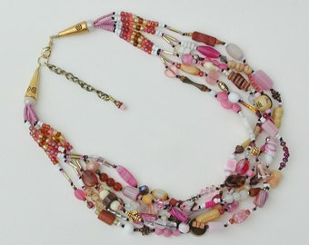 Gorgeous blush pink neutrals multi color statement necklace 6 strand hand-knotted beaded boho OOAK wearable art necklace
