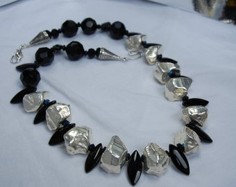 SALE So Cool Black & Silver Necklace