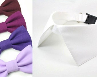 Dog Wedding Collar and Bow Tie Ring Bearer Pointed Shirt Collar with D Ring for Leash Purple Berry Burgundy Lilac Dog Bowtie