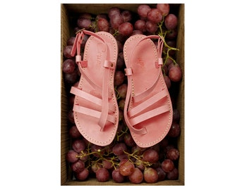 Gladiator Sandals Women, Greek Sandals, Leather sandals, Pink Gladiator Sandals, Leather Flats, Strappy Sandals, Casual Sandals, Flat Sandal
