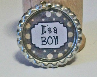 Cute Brown Polka Dot It's a Boy Flattened Bottlecap Pendant Necklace Perfect for Baby Showers or Gender Reveal Parties