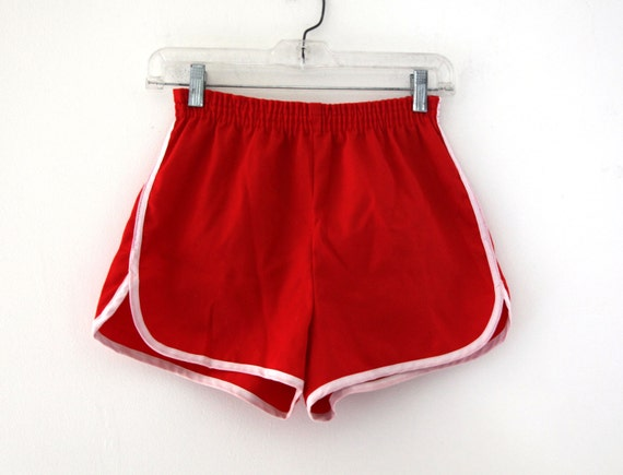 Vintage 80s Gym Shorts Red White Piping