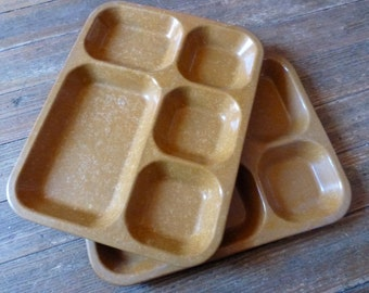 pair of melamine compartmentalized trays