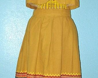 60s Vintage Home Sewn Woven Cotton Vest and Skirt Ensemble — Ladies' size L