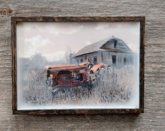 Red Tractor. Alberta, Canada. Original encaustic wall art. Framed. Encaustic Canadian farmstead Photography. 5x7
