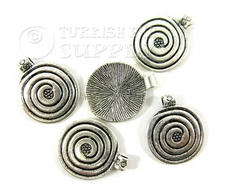 5 pc Spiral Disc Charms, Antique Silver Plated Tibetan Jewelry, Tribal Bali Style Charms, Turkish Jewelry