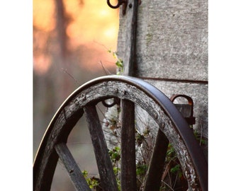 Wheel of Time Fine Art Photography Rustic Country Western Style Chuck Wagon Wooden Wheel Farm Ranch Home Decor