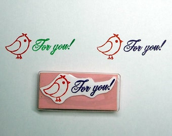 Words Rubber Stamp, For You, Hand Carved, Hand Made Birds Stamp