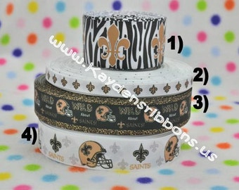 3 yards New Orleans Saints 3/8 inch, 1 inch or 1.5 inch -CHOOSE DESIGN - Printed Grosgrain Ribbon