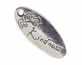 BULK 30 Silver Kindness Affirmation Charm Inspiration Pendant 25x10mm by TIJC SP0269B