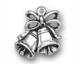 5 Silver Bells Wedding Charm for Bridesmaid Gifts 18x16mm by TIJC SP0553