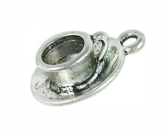 5 pcs - 3D Silver Tea Cup Charm 19x15mm - Ships from Texas by TIJC - SP0179