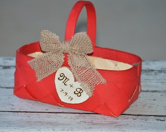 Fall flower girl basket, red flower girl basket, fall wedding, autumn wedding, personalized