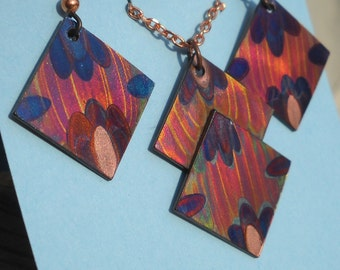 Geometric Flame Painted Copper Earring/Necklace set