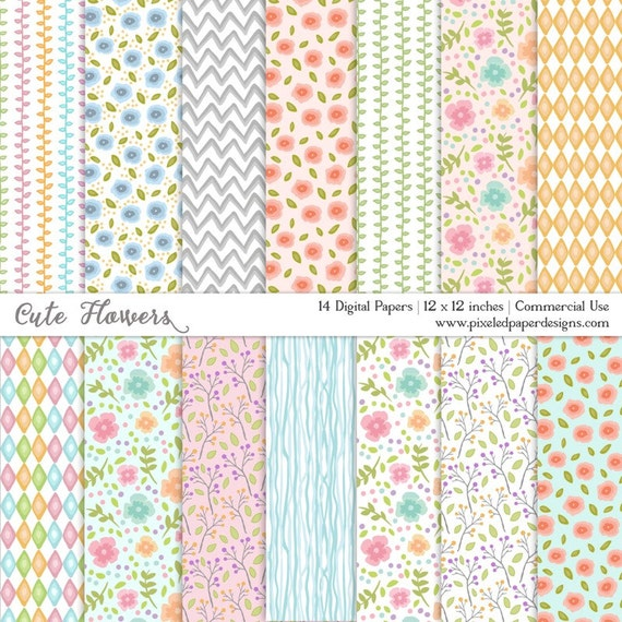 DIGITAL PAPER CUTE FLOWERS WATERCOLOR