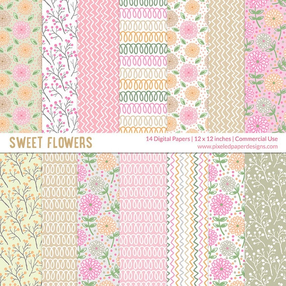 Sweet Flowers Digital Paper