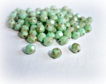 20 x 5mm Seafoam Green Fire Polished Faceted Round Picasso Czech Glass Beads