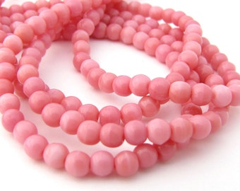 Strawberries and Cream 4mm Smooth Round Czech Glass Beads 100pc #704