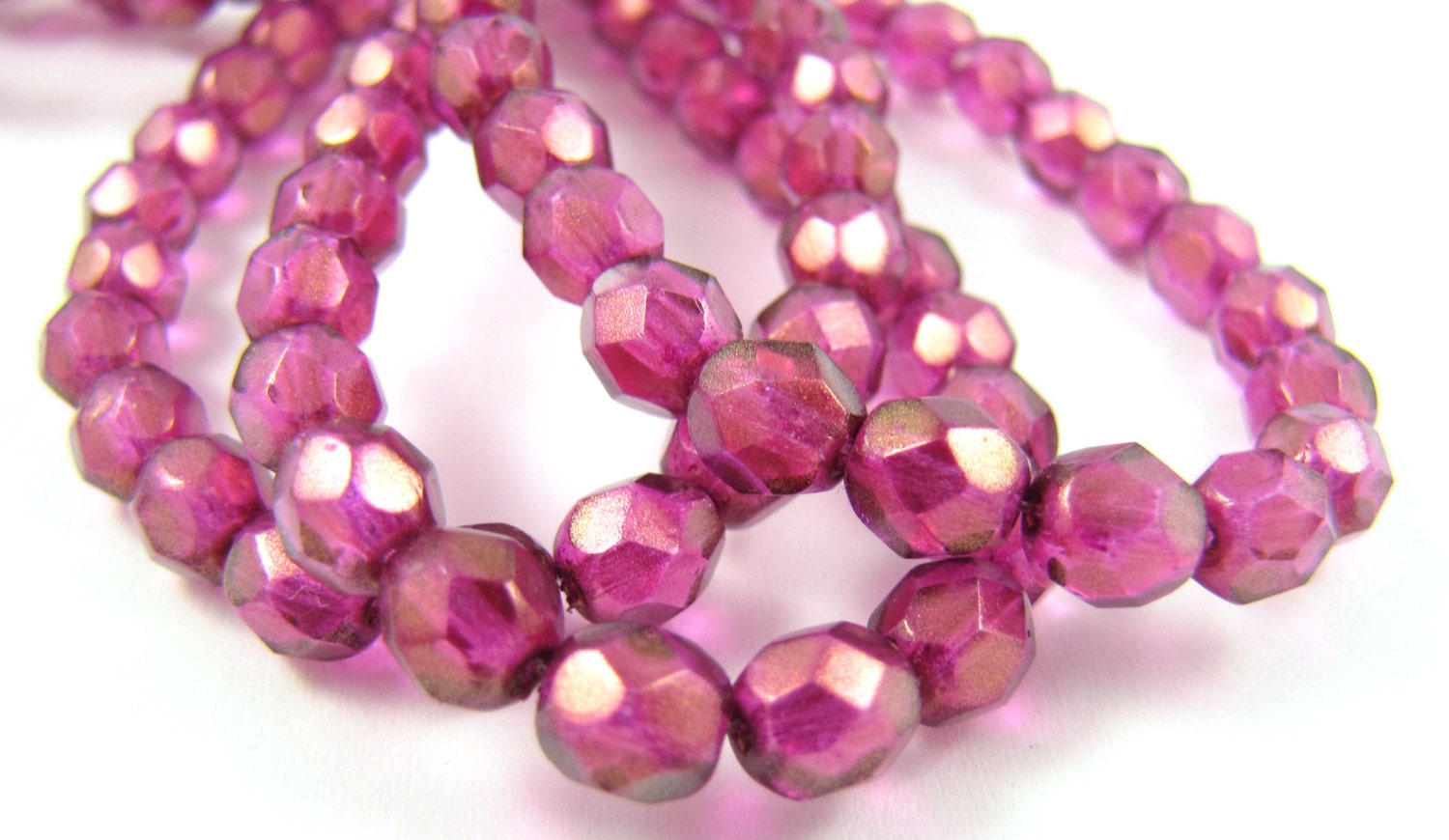 NEW Halo Madder Rose 6mm Facet Round Czech Glass Fire Polished Beads #1790