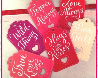 Valentine Heart Die Cut Calligraphy Tags, Calligraphy Tags, Valentine Tags, Calligraphy Valentine's Tags