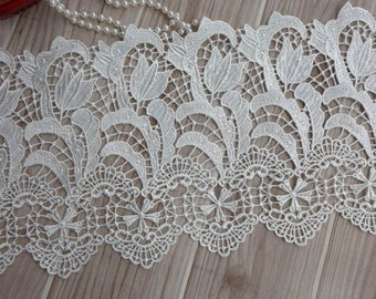 Venise off white bridal lace, embroidered lace fabric trim, bridal wedding gown lace
