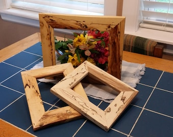 Unusual Reclaimed Wood Frames, Shagbark Hickory Frames with hangers, backs and glass