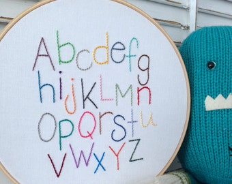 alphabet hand embroidery . nursery decor . gender neutral design . baby shower . cool kids decor . learning tool . 8 inches . 35 dollars