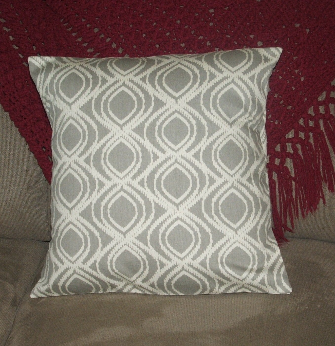 Throw Pillow Fabric Calculator : Pillow Cover, Gray and White, Geometric Design, Decorative Pillow Cover, Throw Pillow Cover, 18 ...