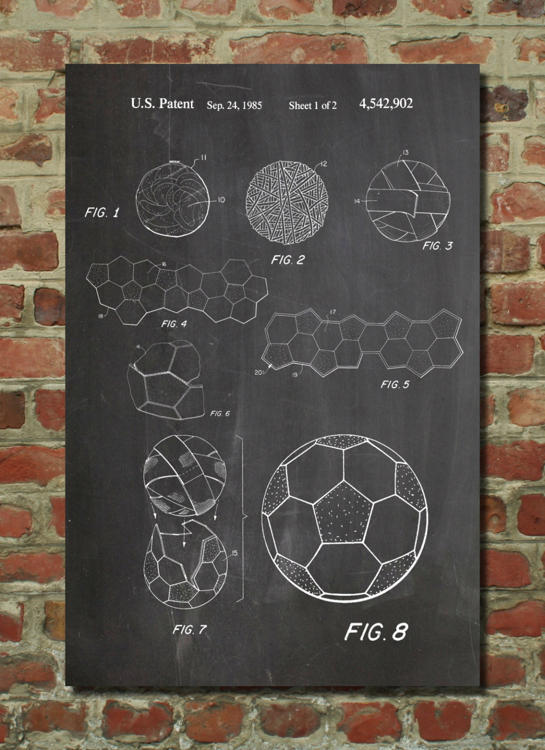 soccer ball 1985 patent poster soccer gifts soccer by. Black Bedroom Furniture Sets. Home Design Ideas