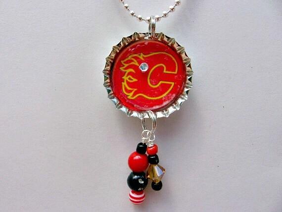 calgary flames necklace calgary flames jewelry calgary