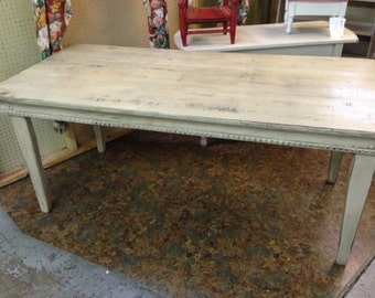 Distressed White Farm Table-Hand Built Pine Farm Table-White Paint Distressed Finish