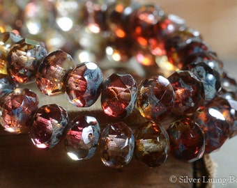 Cranberry Fizz (10) - Czech Glass Bead - 6x8mm - Faceted Rondelle