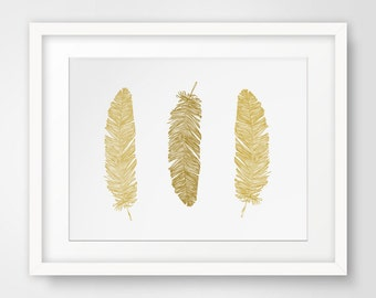Gold Feathers Wall Print, Mustard Yellow Feather Wall Art, Gold Wall Print, Mustard Yellow Feathers Print, Yellow Wall Art, Gold Feathers