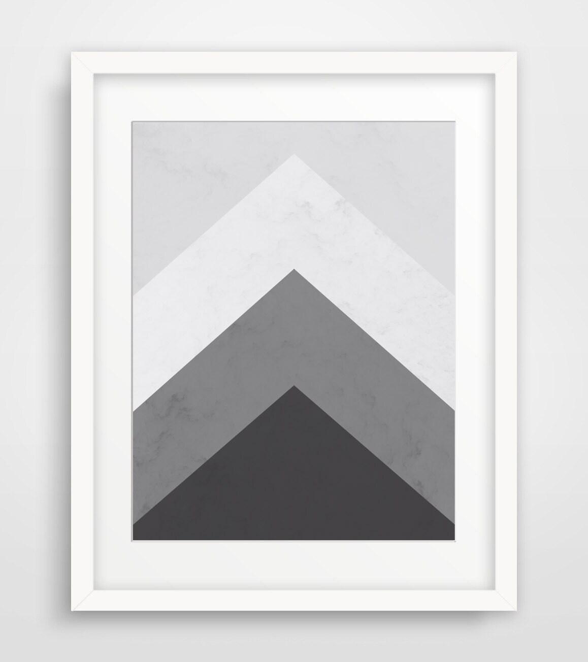 Grey Arrow Wall Decor : Geometric print printable art mountain black and