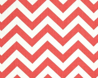 SALE - Premier Prints Zig Zag Coral and White Chevron Fabric - Fabric by the 1/2 yard