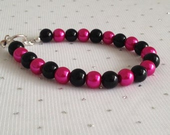 Pink and Black Wedding Pearl Bracelet Bridesmaid Gift Fuchsia Wedding Jewelry Bridesmaid Jewelry Pink and Black Wedding Pearl Jewelry