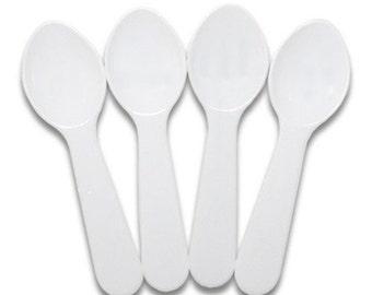 100 White Plastic Mini Taster Spoons