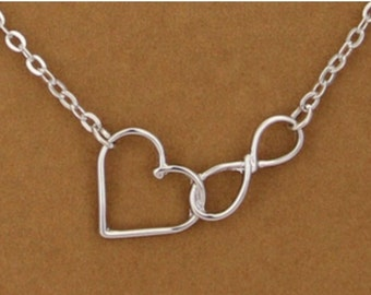 Silver Infinity Heart Necklace, infinity necklace, infinity pendant, heart necklace, necklace, silver necklace, jewelry, heart, infinity