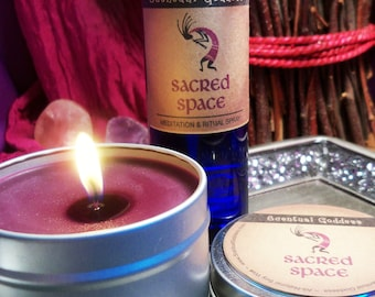 SACRED SPACE SET - Create Your Own Sacred Space For Ceremony Meditation or Sacred Rituals Kokopelli Gift Set Sandalwood & Dragons Blood
