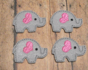 Gray & Pink Elephant felties, feltie, machine embroidered, felt applique, hairbow center, felt embellishment, hair bow supplies