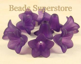 18 mm x 12 mm Deep Purple Lucite Flower Bead - 10 pcs