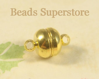 11 mm x 7 mm Gold-Plated Brass Magnetic Clasp - Nickel Free and Lead Free - 4 sets