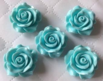 2 pcs 34 mm Cabochon Flowers,Light Blue, 34 mm Light Blue Rose cabochon, Blue resin flower.35 mm Blue cabochon, flower kit,34 mm Blue rose,