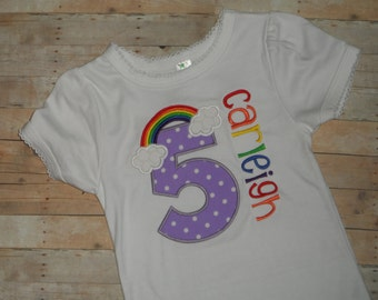 Baby Toddler Girls custom rainbow purple polka dot applique shirt 12m 18m 24m 2t 3t 4t 5t