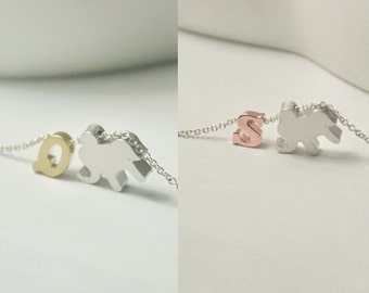 Initial elephant necklace, elephant necklace, elephant charm,gold uppercase letter,rose gold lowercase letter.lucky charm,pet lover jewelry,