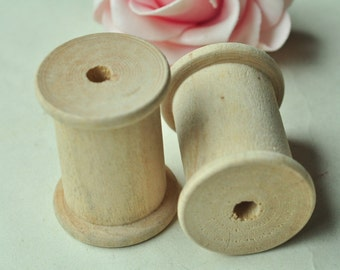 3pcs Large Wooden Spool Wood Bobbin Unfinished Natural Textile Mill Thread Ribbon Sewing Storage - No Varnish & No Lacquer 44x33mm MT491